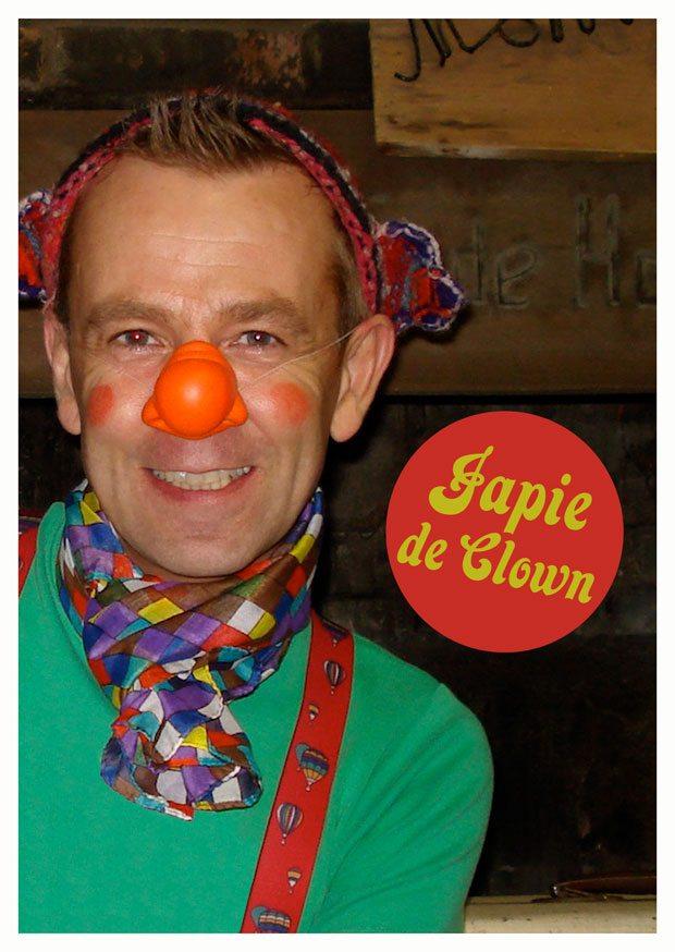 Japie de Clown in de startblokken voor een gezellige kinderfeest